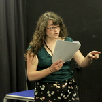 Madeline Gould rehearsing as Tamora