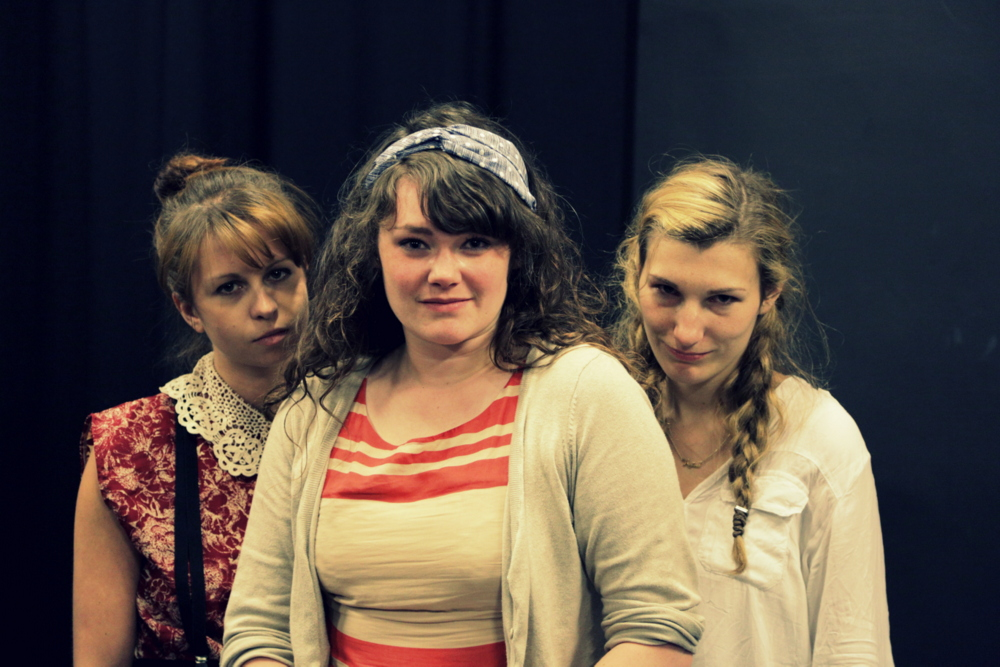 Tamora & Sons in rehearsal (Ashlea Kaye, Madeline Gould, and Stella Taylor)