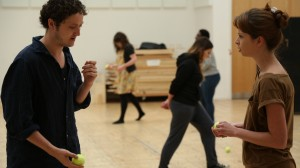 Michael Grady-Hall and Ashlea Kaye rehearsing Titus Andronicus